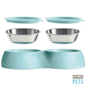 Martha Stewart Pets elevated dog food bowls